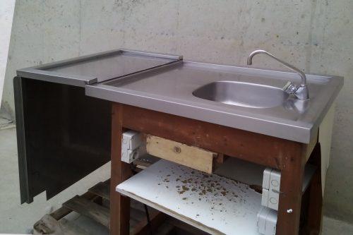 Pica + mostrador inox de 143x80x103cm