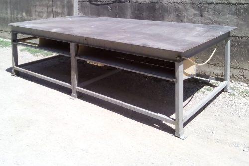 Taula de xapa d'acer de 150x300x86cm