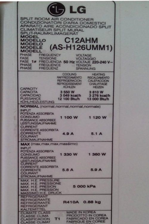 Aire condicionat LG C12AHM