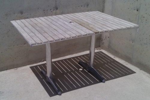 Taula terrassa alumini i fusta 120x80x70cm