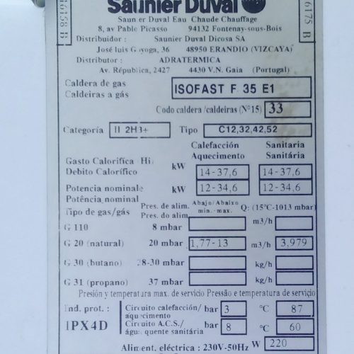 Caldera de gas natural SAUNIER DUVAL de segona mà a cabauoportunitats.com