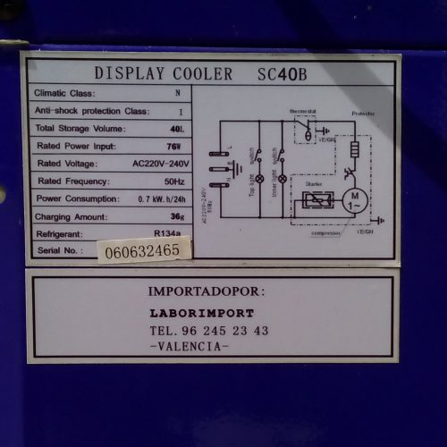 Nevera expositor porta vidre 40x37x75cm