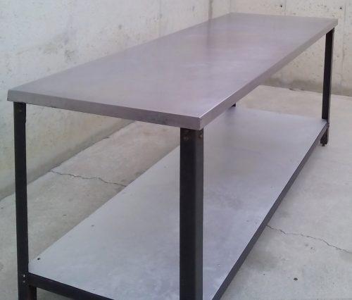 Taula d'acer inoxidable de 180cm