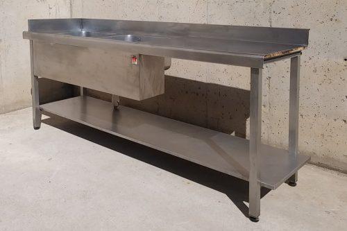 Pica d'acer inoxidable d'ocasió amb dos aigüeres fondes acabauoportunitats.com