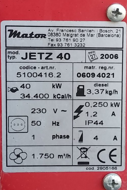 Aerocalefactor MATOR JETZ 40 d'ocasió a cabauoportunitats.com