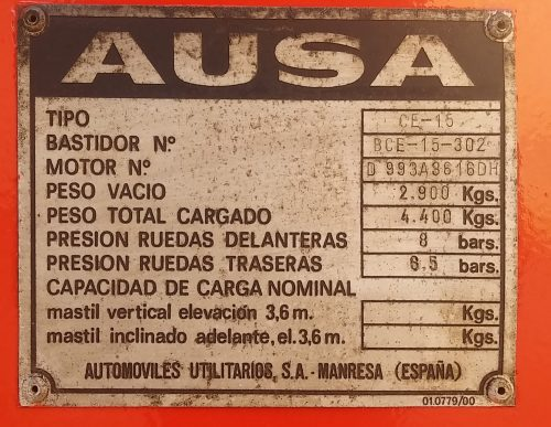 Toro AUSA CE-15 matriculat a cabauoportunitats.com